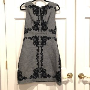 DVF Gray Dress with Black Embroidery